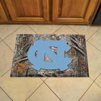 "19"" x 30"" University of North Carolina Rectangle Camo Scraper Mat - ""NC"" Logo"