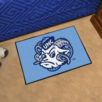 "19"" x 30"" University of North Carolina Ram Logo Blue Rectangle Starter Mat"