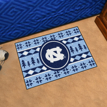"19"" x 30"" University of North Carolina Holiday Sweater Blue Rectangle Starter Mat"