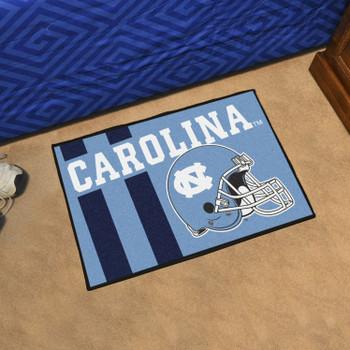 "19"" x 30"" University of North Carolina Football Helmet Blue Rectangle Starter Mat"
