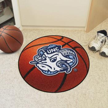 """27"""" University of North Carolina Ram Logo Orange Basketball Style Round Mat"""