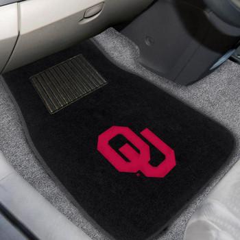 University of Oklahoma Embroidered Black Car Mat, Set of 2