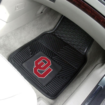 University of Oklahoma Heavy Duty Vinyl Front Black Car Mat, Set of 2