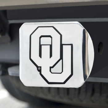 University of Oklahoma Hitch Cover - Chrome on Chrome