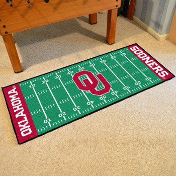 "30"" x 72"" University of Oklahoma Football Field Rectangle Runner Mat"