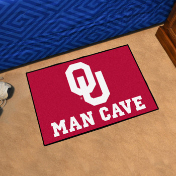 "19"" x 30"" University of Oklahoma Man Cave Starter Red Rectangle Mat"