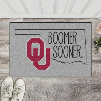 "19"" x 30"" University of Oklahoma Southern Style Gray Rectangle Starter Mat"