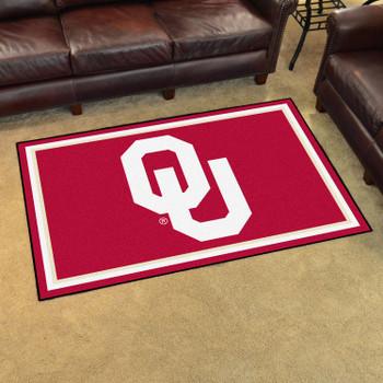 4' x 6' University of Oklahoma OU Logo Red Rectangle Rug