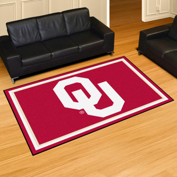 5' x 8' University of Oklahoma OU Logo Red Rectangle Rug