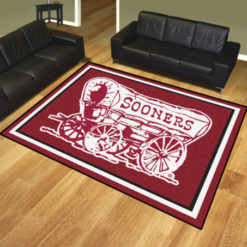 8' x 10' University of Oklahoma OU Logo Red Rectangle Rug