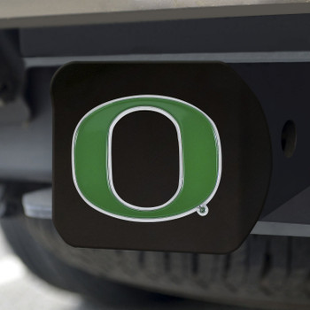 University of Oregon Hitch Cover - Color on Black