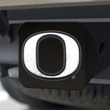 University of Oregon Hitch Cover - Chrome on Black