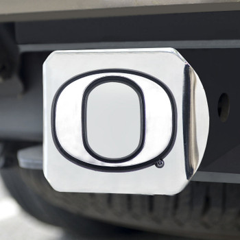 University of Oregon Hitch Cover - Chrome on Chrome