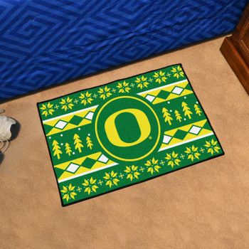"19"" x 30"" University of Oregon Holiday Sweater Green Rectangle Starter Mat"