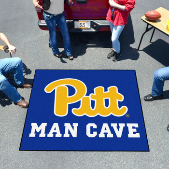 "59.5"" x 71"" University of Pittsburgh Man Cave Tailgater Navy Blue Rectangle Mat"