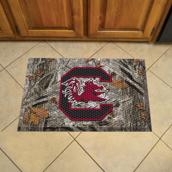 "19"" x 30"" University of South Carolina Rectangle Camo Scraper Mat - ""Block C & Gamecock"" Logo"