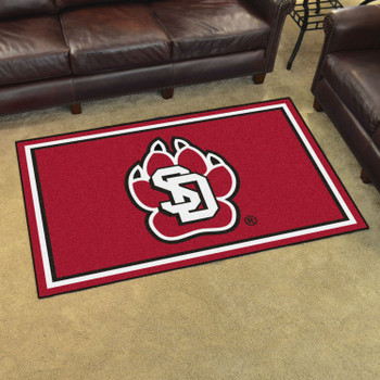 4' x 6' University of South Dakota Red Rectangle Rug
