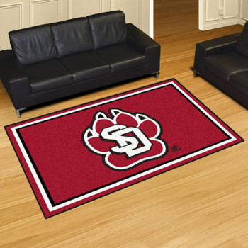 5' x 8' University of South Dakota Red Rectangle Rug