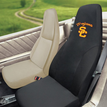 "University of Southern California Car Seat Cover - ""Block SC"" Logo & ""Trojans"" Wordmark"