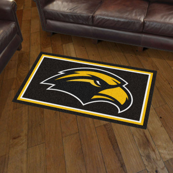 3' x 5' University of Southern Mississippi Black Rectangle Rug