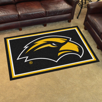 4' x 6' University of Southern Mississippi Black Rectangle Rug