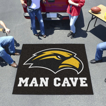 "59.5"" x 71"" University of Southern Mississippi Man Cave Tailgater Black Rectangle Mat"