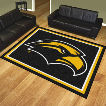 8' x 10' University of Southern Mississippi Black Rectangle Rug