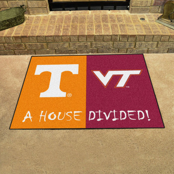 "33.75"" x 42.5"" Tennessee / Virginia Tech House Divided Rectangle Mat"