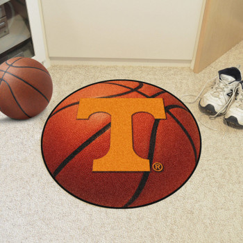 "27"" University of Tennessee Power T Logo Orange Basketball Style Round Mat"