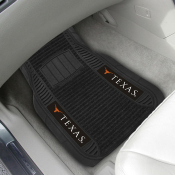University of Texas Deluxe Vinyl & Black Carpet Car Mat, Set of 2