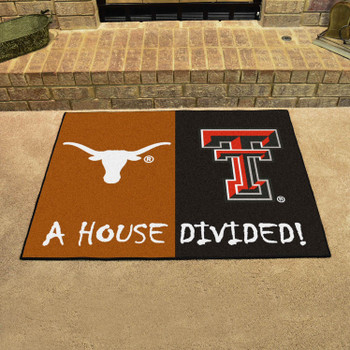 "33.75"" x 42.5"" Texas / Texas Tech House Divided Rectangle Mat"