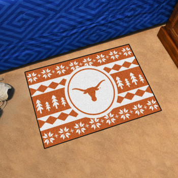 "19"" x 30"" University of Texas Holiday Sweater Orange Rectangle Starter Mat"