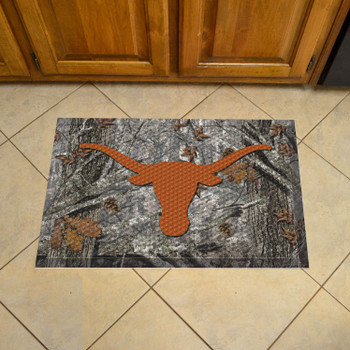 "19"" x 30"" University of Texas Rectangle Camo Scraper Mat - ""Longhorn"" Logo"