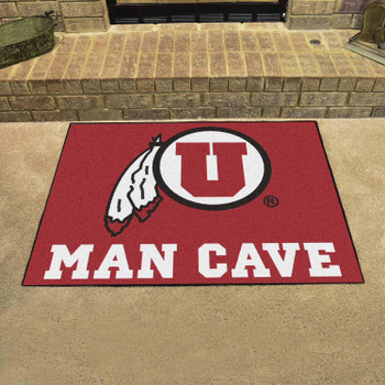 "33.75"" x 42.5"" University of Utah Man Cave All-Star Red Rectangle Mat"