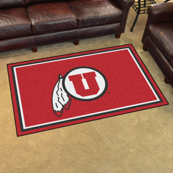 4' x 6' University of Utah Red Rectangle Rug