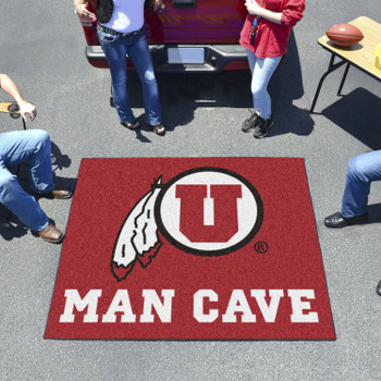 "59.5"" x 71"" University of Utah Man Cave Tailgater Red Rectangle Mat"