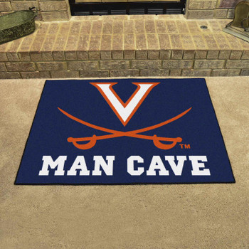 "33.75"" x 42.5"" University of Virginia Man Cave All-Star Navy Blue Rectangle Mat"