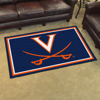 4' x 6' University of Virginia Navy Blue Rectangle Rug