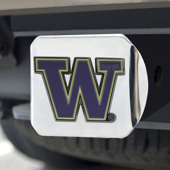 University of Washington Color Hitch Cover - Chrome