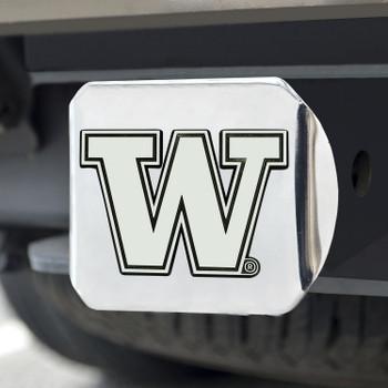 University of Washington Hitch Cover - Chrome on Chrome