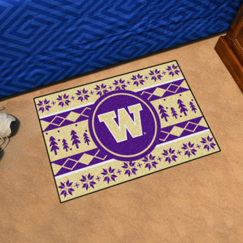 "19"" x 30"" University of Washington Holiday Sweater Gold Rectangle Starter Mat"