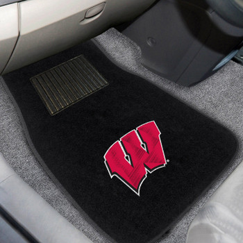 University of Wisconsin Embroidered Black Car Mat, Set of 2