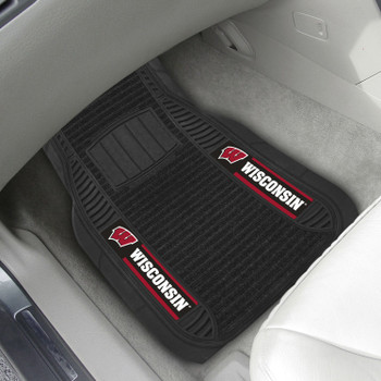 University of Wisconsin Deluxe Vinyl & Black Carpet Car Mat, Set of 2