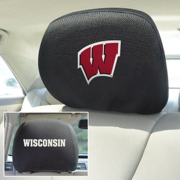 University of Wisconsin Car Headrest Cover, Set of 2
