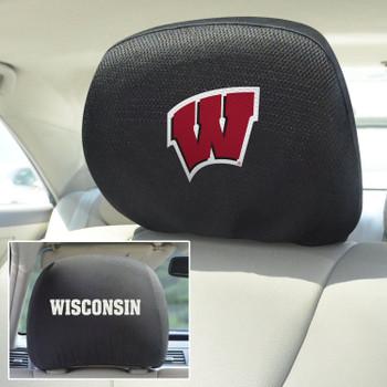 University of Wisconsin Car Headrest Cover, Set of 2