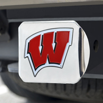 University of Wisconsin Color Hitch Cover - Chrome