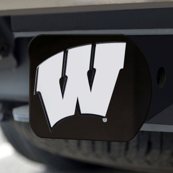 University of Wisconsin Hitch Cover - Chrome on Black