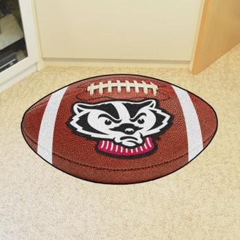 "20.5"" x 32.5"" University of Wisconsin Badgers Football Shape Mat"