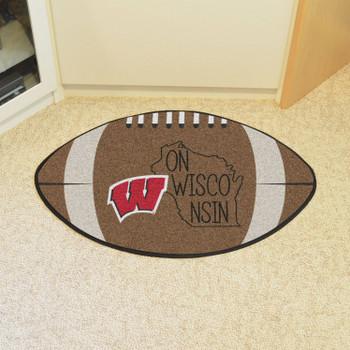 "20.5"" x 32.5"" University of Wisconsin Southern Style Football Shape Mat"