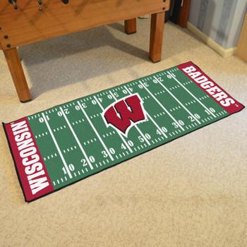 """30"""" x 72"""" University of Wisconsin Football Field Rectangle Runner Mat"""